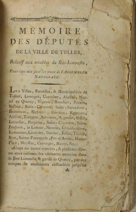 Mémoire des députés de la ville de Tulle - Troubles du bas-Limousin 1789 Corrèze - Photo 0 - livre de bibliophilie
