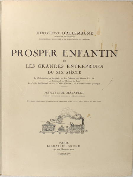 d'ALLEMAGNE - Prosper Enfantin et les grandes entreprises du XIXe siècle - 1935 - Photo 1 - livre de bibliophilie