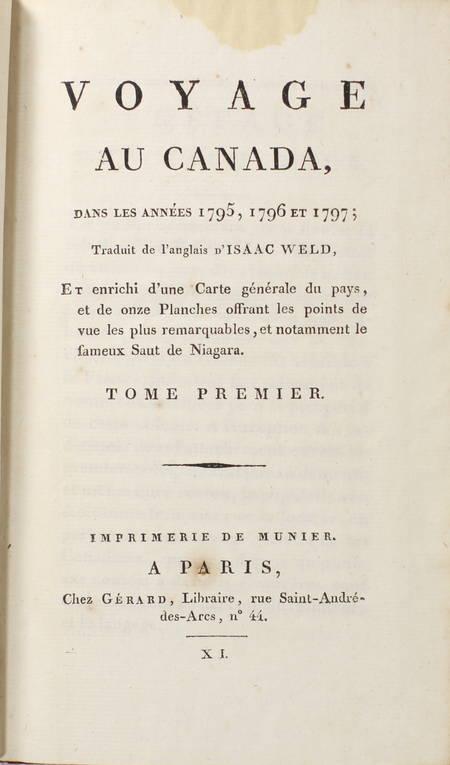 WELD - Voyage au Canada pendant les années 1795, 1796 et 1797 - 3 vols gravures - Photo 2 - livre du XIXe siècle