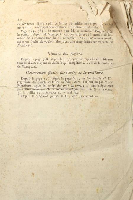 Mémoire pour le duc de Montpezat et la famille d'Agoult de Montmaur - 1780 - Photo 1 - livre de collection