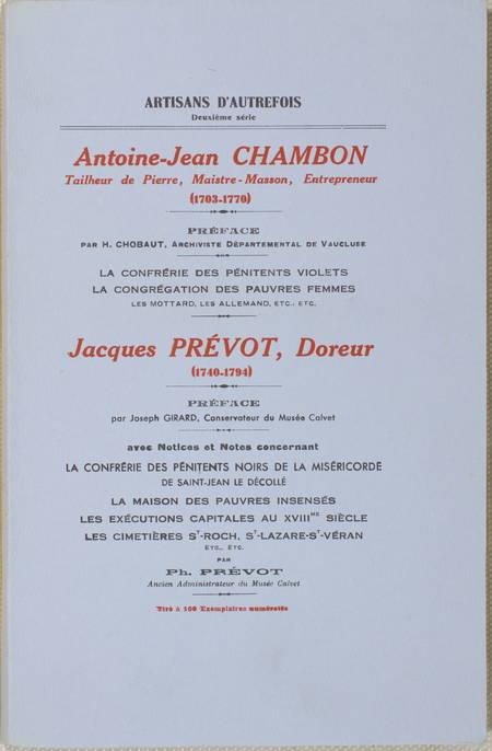 [Avignon] Antoine-Jean Chambon, tailleur de pierre - Jacques Prévot, doreur - Photo 0 - livre d'occasion
