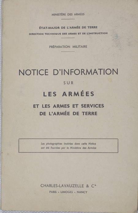 Notice sur les armées, les armes et services de l'armée de terre - 1965 - Photo 1 - livre moderne