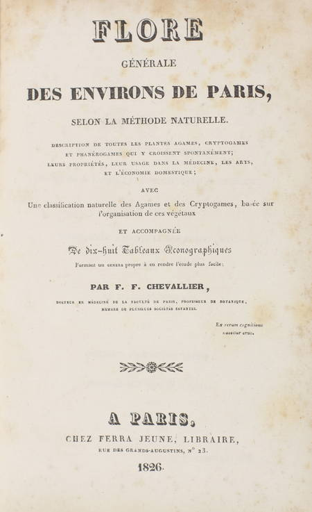CHEVALLIER - Flore générale des environs de Paris - 1826 - 3 volumes - Photo 2 - livre rare