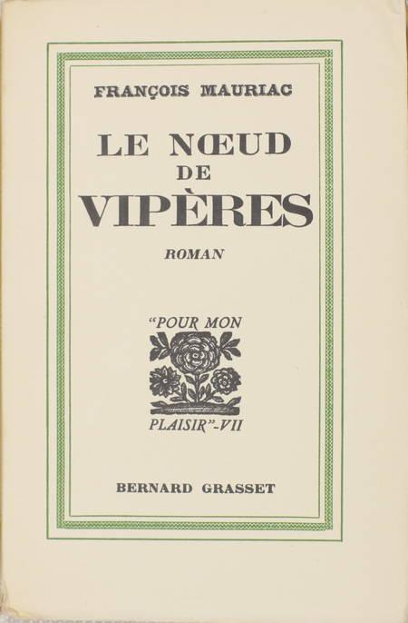 François MAURIAC - Le noeud de vipères - 1932 - EO sur Alfa - Photo 1 - livre d'occasion