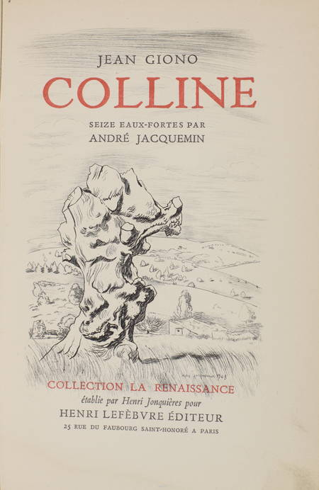 Jean GIONO - Colline - 16 eaux-fortes par André Jacquemin - Photo 0 - livre d'occasion