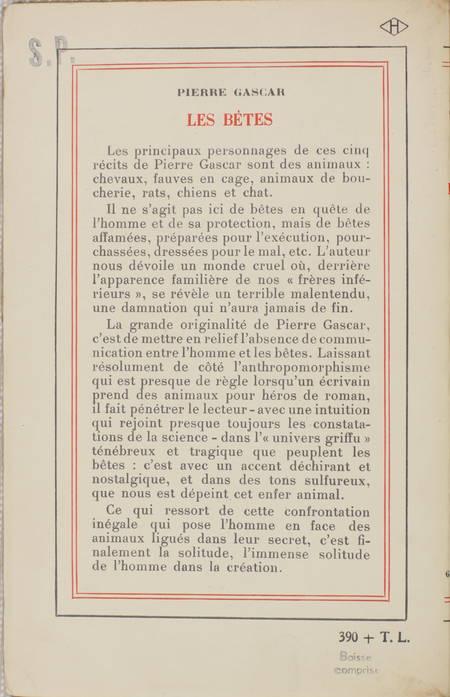 Pierre GASCAR - Les bêtes - 1953 - Service de presse - Photo 1 - livre moderne