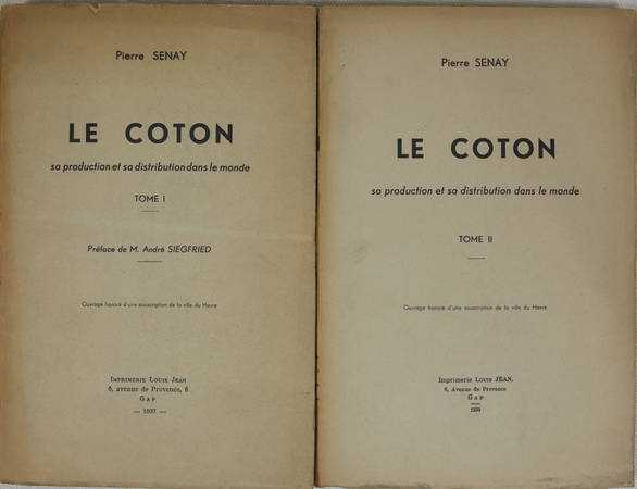 SENAY - Le coton sa production et sa distribution dans le monde 1937 - 2 volumes - Photo 1 - livre de bibliophilie