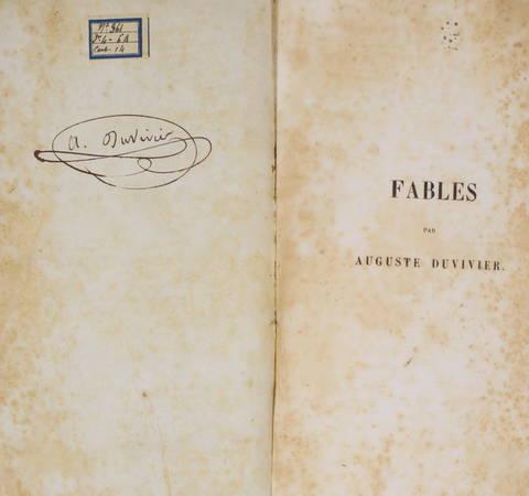 DUVIVIER (J. M. F. Auguste). Fables, par J. M. F. Auguste Duvivier, membre de la Société Philotechnique et de l'Académie Royale du Gard, livre rare du XIXe siècle