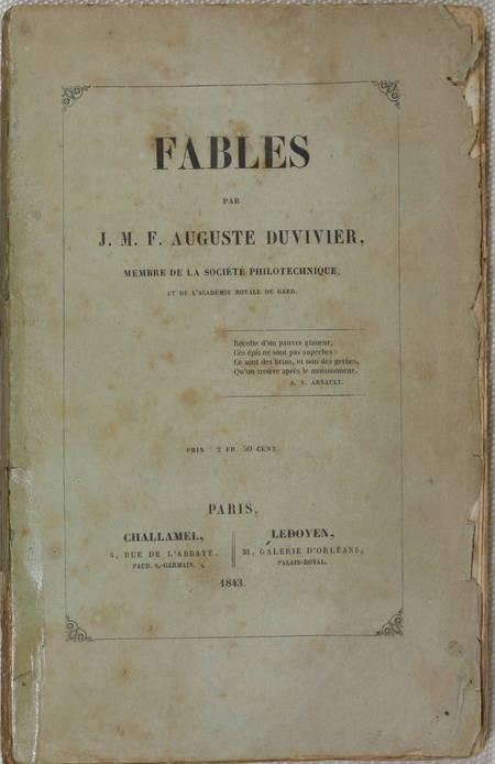 Fables, par J. M. F. Auguste Duvivier - 1843 - Photo 1 - livre rare