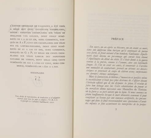 APOLLINAIRE - Casanova. Comédie parodique - 1952 - EO 1/110 vélin Lafuma-Navarre - Photo 1 - livre de bibliophilie