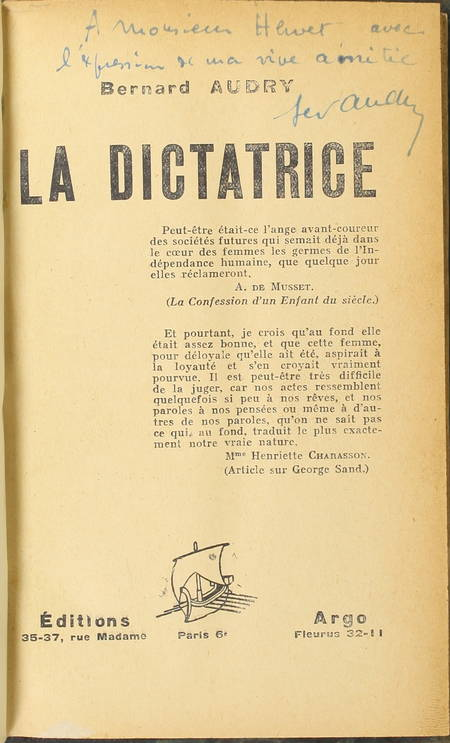 Bernard AUDRY - La dictatrice - 1928 - Envoi de l'auteur - Photo 0 - livre rare