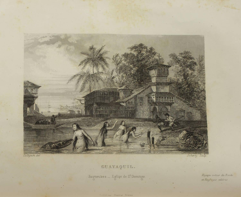 Voyages autour du Monde et naufrages célèbres 1843 - Planches couleurs - 8 v - Photo 4, livre rare du XIXe siècle