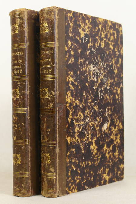 Ferdinand de LESSEPS - Percement de l'isthme de Suez - 1855-1856 - Cartes - 2 v - Photo 1 - livre du XIXe siècle