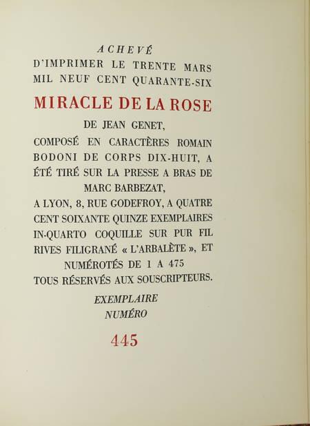 GENET (Jean). Miracle de la rose