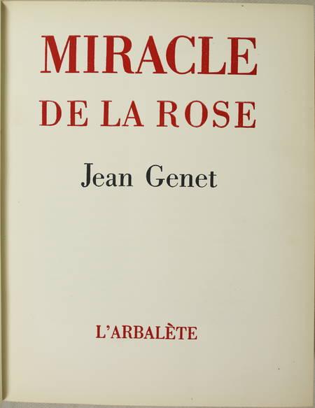 Jean GENET - Miracle de la rose - 1946 - EO in-4 sur pur fil Rives - Photo 2 - livre de collection