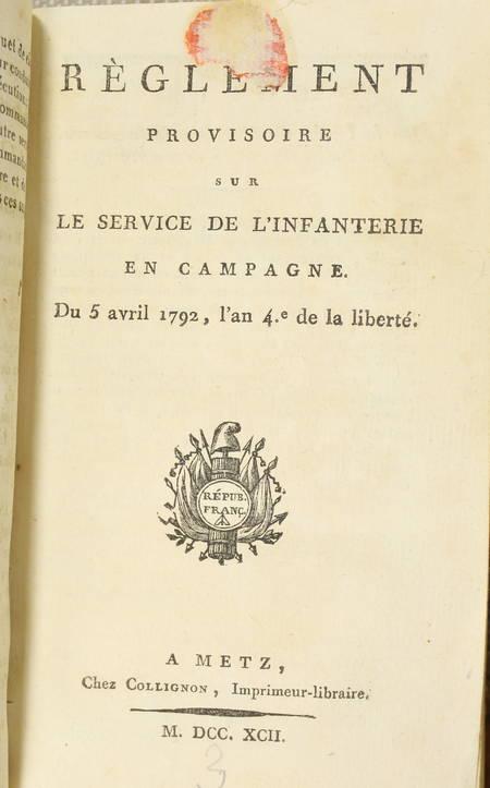 [Militaire] Convention nationale, Justice militaire, Infanterie en campagne 1792 - Photo 1 - livre rare