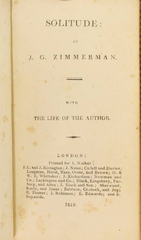 ZIMMERMANN - Solitude or the effects of occasional retirements - 1819 - Photo 2 - livre de collection