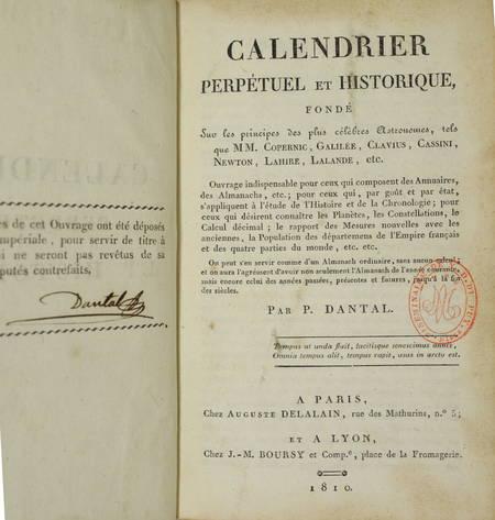 [Astronomie] DANTAL - Calendrier perpétuel et historique - 1810 - Photo 2, livre ancien du XIXe siècle