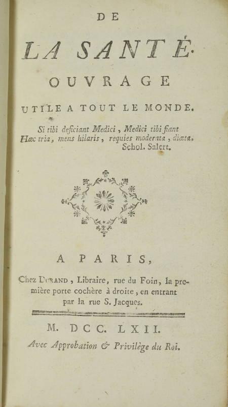 [JACQUIN (Abbé)] - De la santé, ouvrage utile à tout le monde - 1762 - Photo 1 - livre du XVIIIe siècle