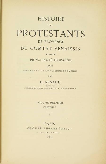 ARNAUD - Histoire des protestants de Provence, du Comtat Venaissin ... - 1884 - Photo 1 - livre de collection