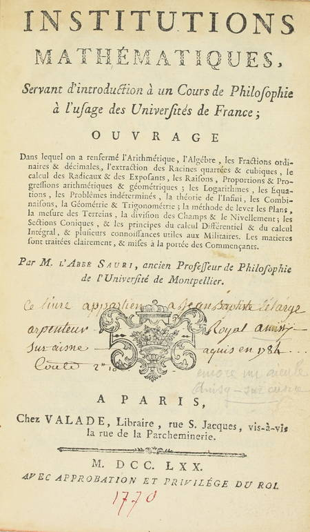 Abbé SAURI - Institutions mathématiques - 1770 - EO - Photo 2 - livre de collection