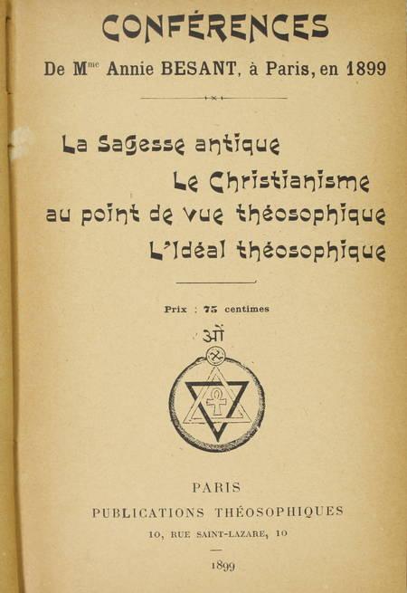 [Théosophie] Conférences de Mme Annie Besant en 1899 - et Chakravarti 1900 - ... - Photo 1 - livre de bibliophilie