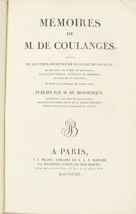 Lettres de Madame de Sévigné - Blaise 1818 - 10 vol in-8 + Coulanges de 1820 - Photo 5 - livre de collection