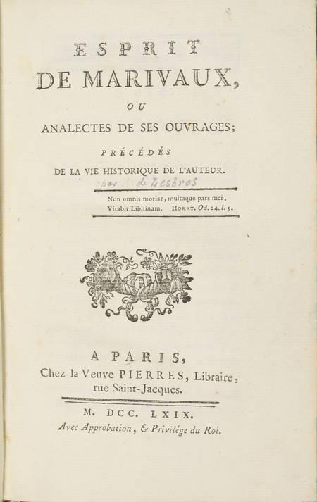 Esprit de Marivaux, ou analectes de ses ouvrages - 1769 - Photo 1 - livre de bibliophilie