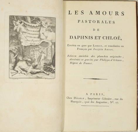 LONGUS Amours pastorales de Daphnis et Chloé 1796 - Audran d'après Ph. d'Orléans - Photo 3 - livre de bibliophilie