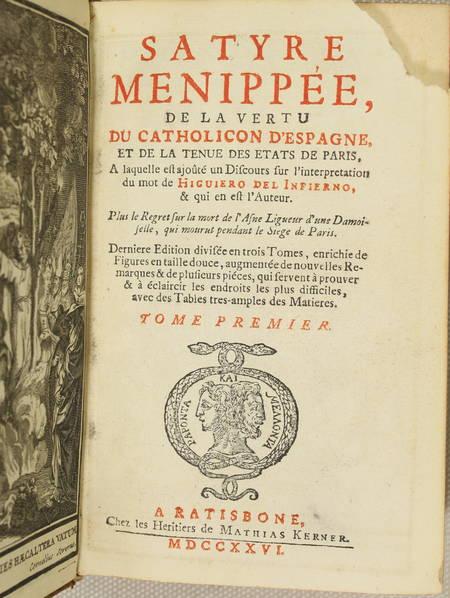 Satyre ménippée de la vertu du catholicon d'Espagne - 1726 - 3 volumes - 10 pl. - Photo 2 - livre de collection