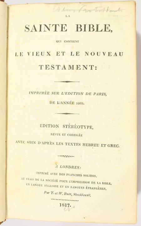 La sainte bible qui contient le vieux et le nouveau testament, Londres 1811-1817 - Photo 1 - livre de collection