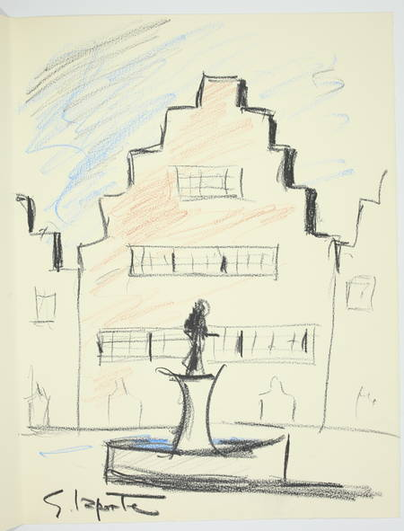 VERHAEREN Les villes à pignons 1971 - Georges Laporte - Dessin signé + Lithos - Photo 0 - livre moderne