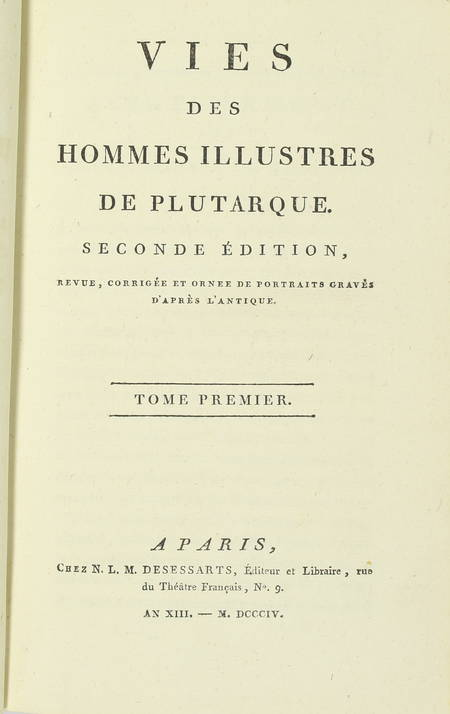 PLUTARQUE - Vies des hommes illustres - 1804 - 4 volumes - Portraits - Photo 2 - livre d'occasion