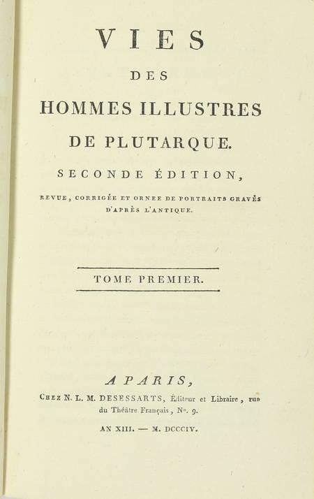 PLUTARQUE - Vies des hommes illustres - 1804 - 4 volumes - Portraits - Photo 2 - livre de bibliophilie
