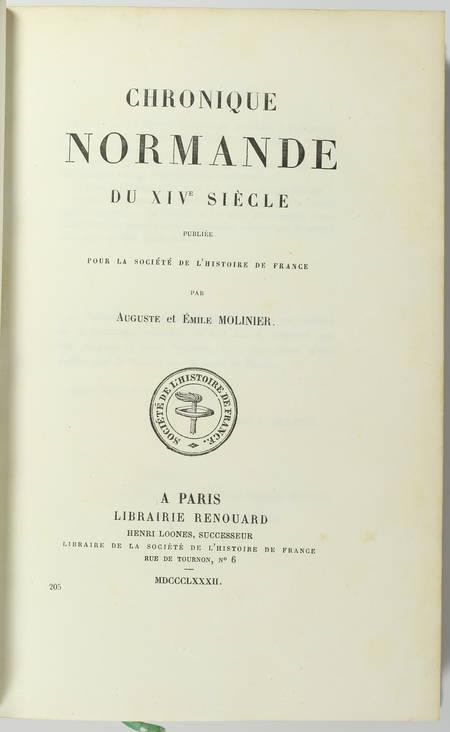 [Normandie] MOLINIER - Chronique normande du XIVe siècle - 1882 - Photo 1 - livre de bibliophilie