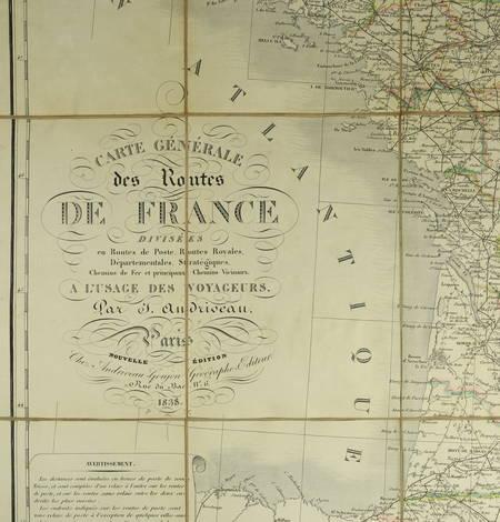 ANDRIVEAU Carte générale des routes France, divisées en routes de poste ... 1838 - Photo 0 - carte