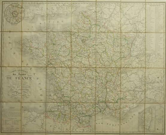 ANDRIVEAU Carte générale des routes France, divisées en routes de poste ... 1838 - Photo 3 - carte
