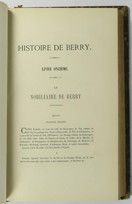 THAUMAS de la Th. - Histoire de Berry + Nobiliaire. Tomes III et IV - 1868-1871 - Photo 1 - livre du XIXe siècle