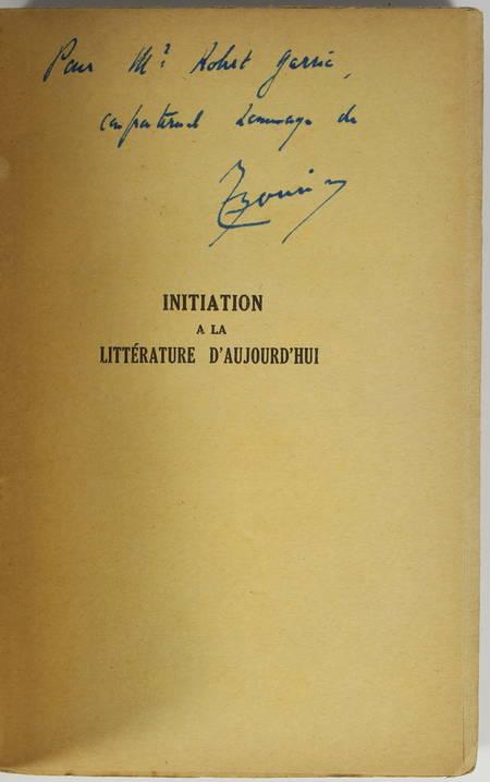 BOUVIER (Emile). Initiation à la littérature d'aujourd'hui. Cours moyen, livre rare du XXe siècle