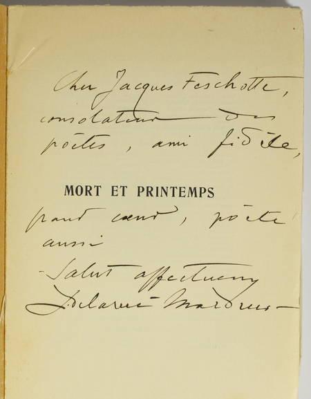 DELARUE-MARDRUS - Mort et printemps - 1932 - EO - Envoi - Photo 0 - livre d'occasion