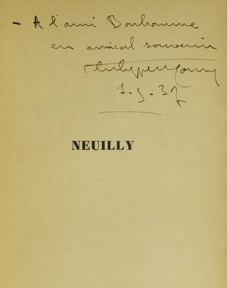 Philippe MONIN - Neuilly - Monographie - 1937 - Envoi - Photo 0 - livre d'occasion