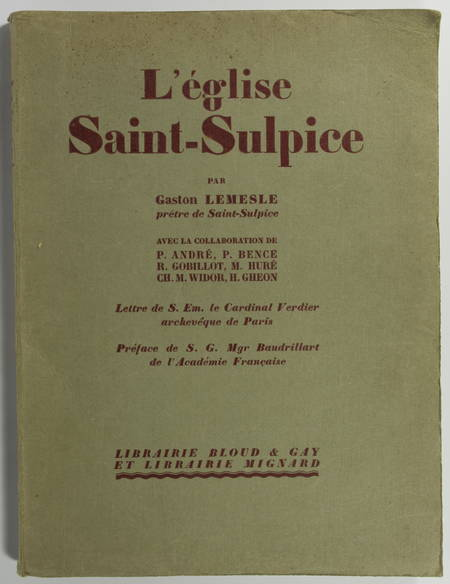 [Paris] LEMESLE - L'église Saint-Sulpice - 1930 - Photo 0 - livre de collection