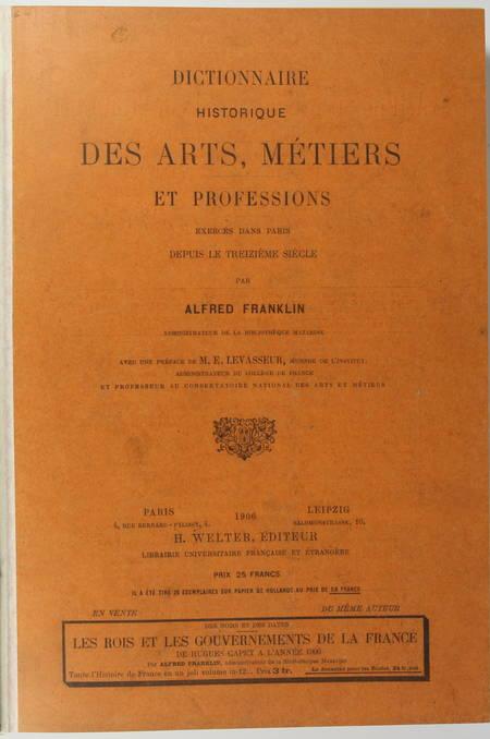 FRANKLIN - Dictionnaire historique des arts, métiers et professions exercés 1906 - Photo 1, livre rare du XXe siècle