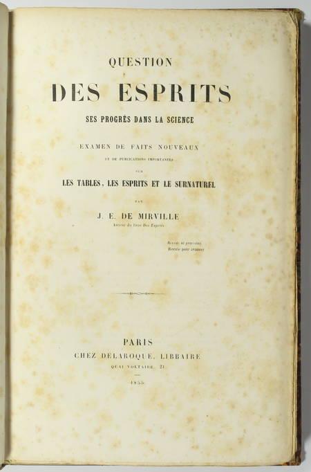MIRVILLE - Question des esprits. Ses progrès dans la science - 1855 - Photo 1 - livre d'occasion