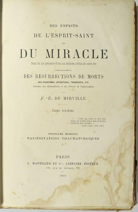 MIRVILLE - Manifestations Thaumaturgiques - 1868 - Photo 1 - livre rare