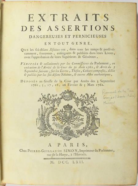 Extraits des assertions dangereuses et pernicieuses ... des jésuites - 1762 - Photo 1 - livre rare
