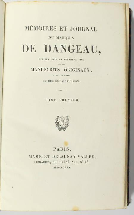 DANGEAU - Mémoires et journal du marquis de Dangeau - 1830 - 4 volumes - Photo 1 - livre de bibliophilie