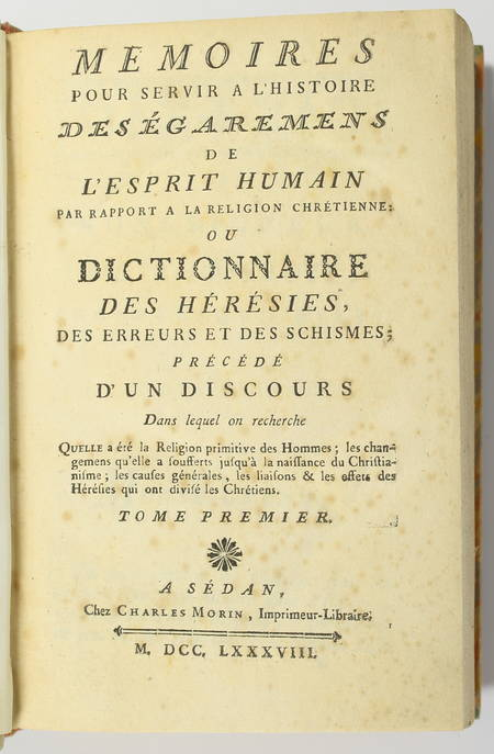 [Hérésies] Pluquet - Histoire des égarements de l'esprit humain 1788 - 2 volumes - Photo 1 - livre rare