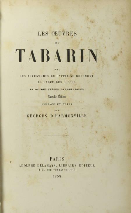 Les oeuvres de Tabarin, avec Les adventures du capitaine Rodomont ... - 1858 - Photo 2, livre rare du XIXe siècle