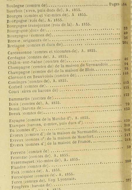 [Généalogie] Liste chronologique des grands feudataires - (1855) - Photo 1, livre rare du XIXe siècle